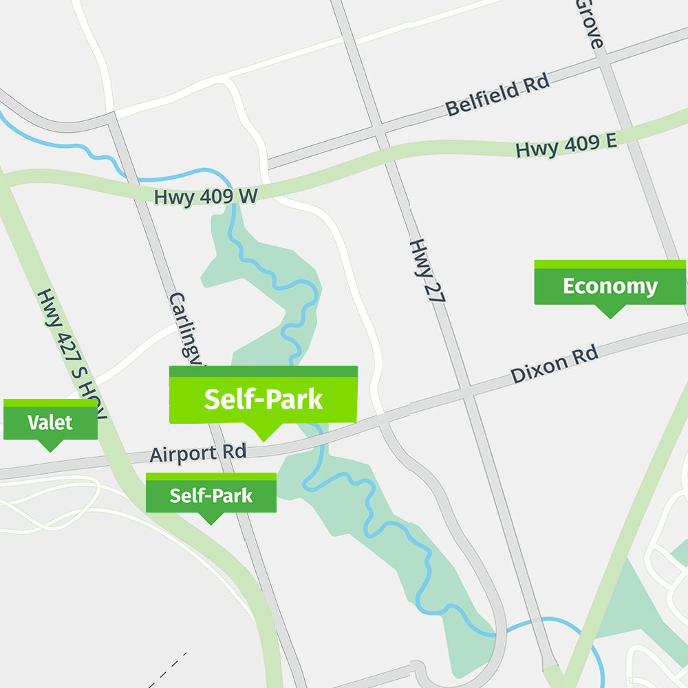 Park'N Fly Toronto Self Park map